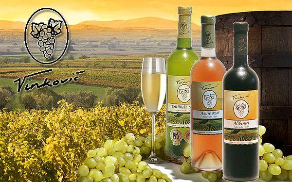Tri kvalitné lahodné vínka malokarpatského vinárstva VINKOVIČ v darčekovom balení len za 13,50 €. Veltlínske zelené - výber z hrozna, André rosé a Alibernet neskorý zber. Na výber tri odberné miesta.