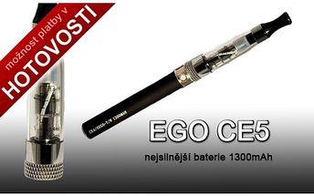 Nejlepší na trhu!!! Nejnovější ego ce5 + nejsilnější baterie výkonu 1300mAh, pořiďte si opravdovou špičku na trhu. Akční cena jen 299,-Kč.