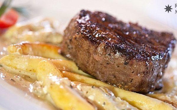 Hovädzí alebo jelení steak (200 g) s prílohou