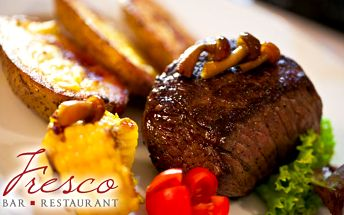 Hovädzie menu s 52% zľavou. Chutne vymiešaný tatarák s hriankou ako predjedlo a šťavnatý steak s omáčkou podľa výberu ako hlavné jedlo len za 11€ vo Fresco bar a restaurant v centre mesta.