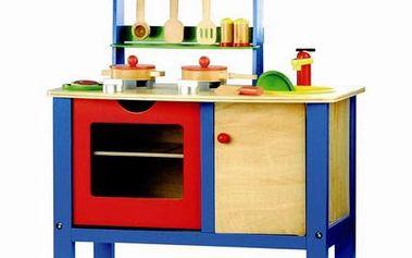 Dřevěná dětská kuchyňka s příslušenstvím - 17 dílků. Rozvíjí motorické schopnosti dětí a učí je základům vaření.