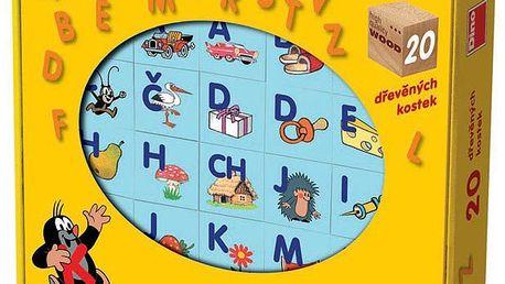 Dětské dřevěné kostky s písmeny a obrázky Zdeňka Milera. Zábavná hra pro seznámení s abecedou.