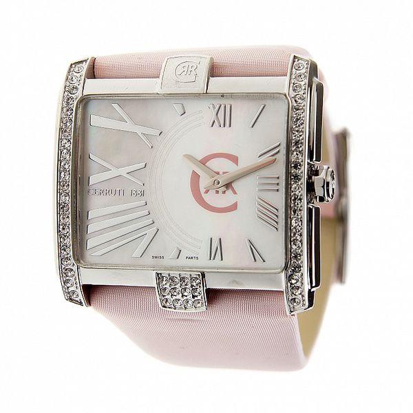 Dámské hodinky Cerruti 1881 s růžovým páskem a krystaly