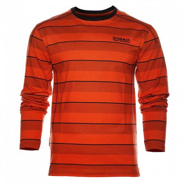 Pánské oranžové proužkované tričko Bushman s dlouhým rukávem