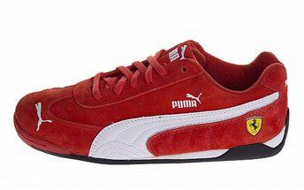 Červené semišové tenisky Puma Ferrari s bílými detaily