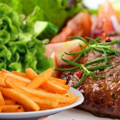 NEUVĚŘITELNÁ CENA! 99 Kč za šťavnatý 300g PFEFFER STEAK z vepřové krkovice, jemnou pepřovou omáčkou a smaženými HRANOLKY! Zastavte se po lyžovačce v RENO restaurant na pořádnou porci! Sleva 50%!