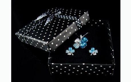 Báječný tip na exkluzivní dárek!! Dárková souprava čtyřlístek Swarovski Elements v modré barvě za 399 Kč včetně dopravy!
