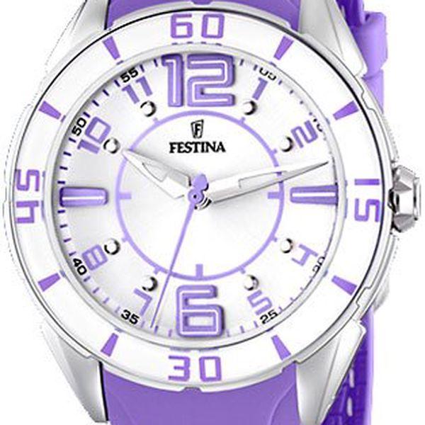 Dámské hodinky Festina Ceramic. Krásný fialový design s nápaditým ciferníkem.