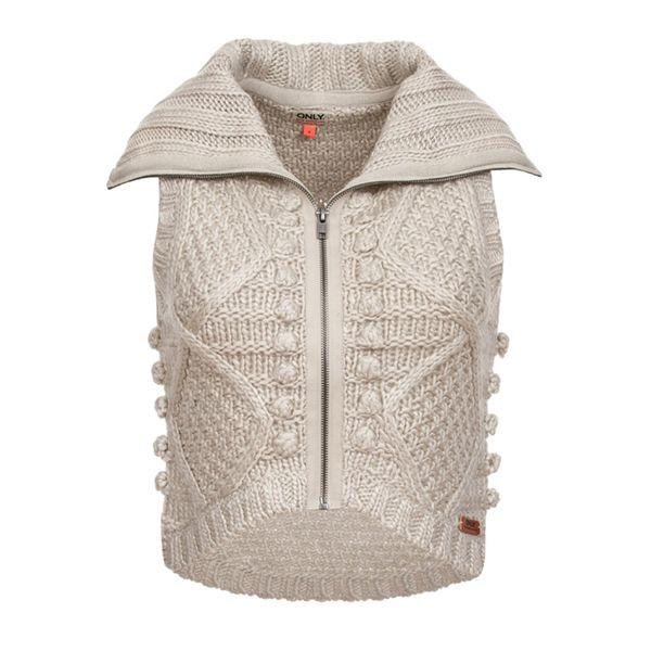 Dámská pletená vesta Only béžová krátká