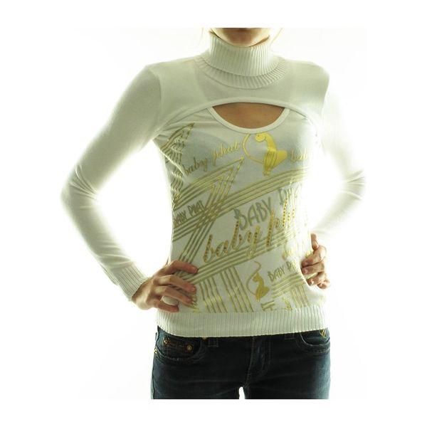 Dámské rolákové tričko Baby Phat bílé zlatý potisk
