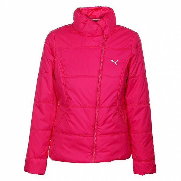Dámská neonově růžová zimní prošívaná bunda Puma se šikmým zipem