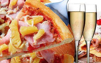 Romantická večera pre dvoch – pizza, dezert a sekt