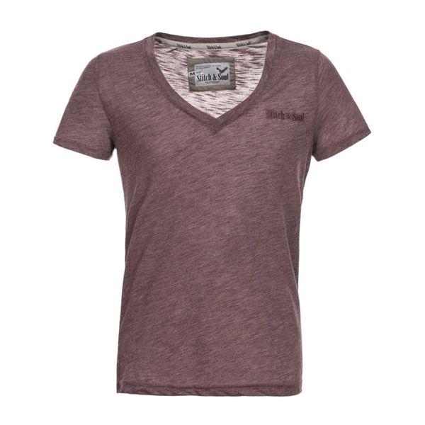 Pánské tričko Stitch & Soul hnědočervené