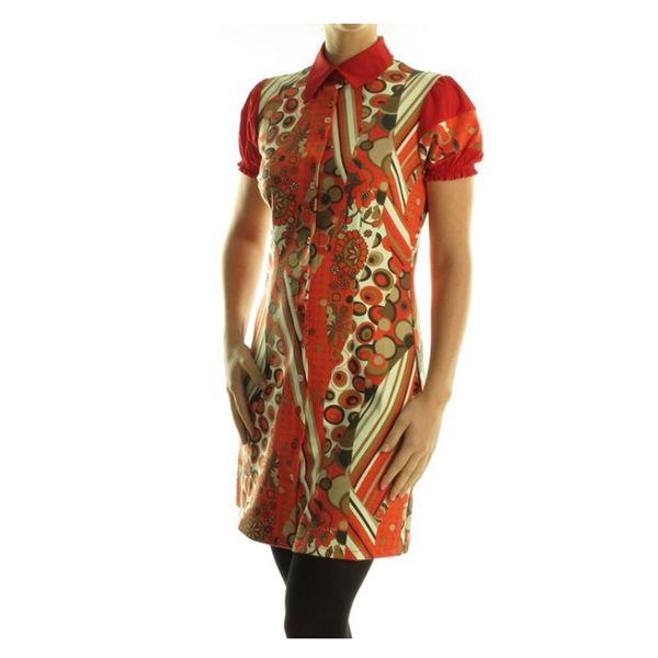 Dámské šaty My Design Paris červeno-oranžové s límečkem