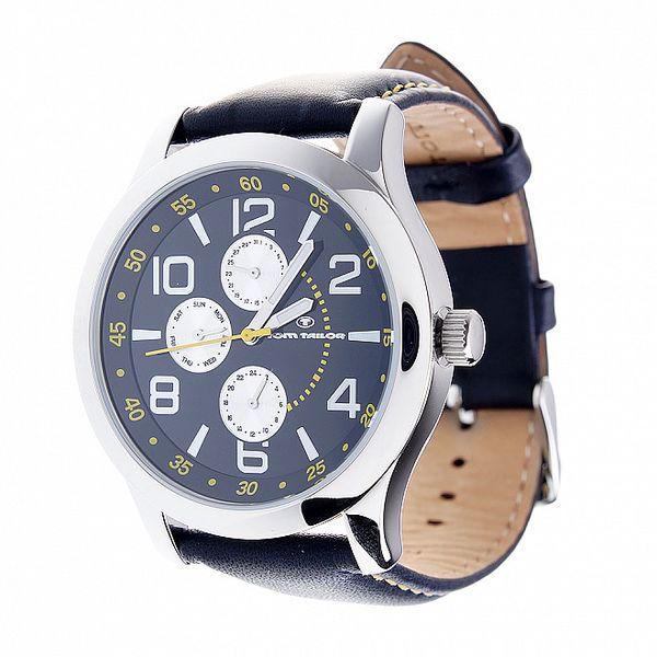 Pánské černo-stříbrné hodinky Tom Tailor s černým koženým řemínkem a žlutými detaily
