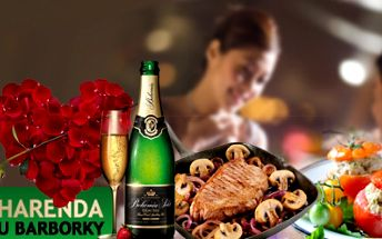Romantická VALENTÝNSKÁ VEČEŘE za luxusních 185 Kč! Rajčátko plněné drůbežím salátem, krůtí steak obložený hlavičkami žampiónů, podávaný s hruškou plněnou ovocným ragů, lívaneček s lesním ovocem a sekt! Super sleva 40%