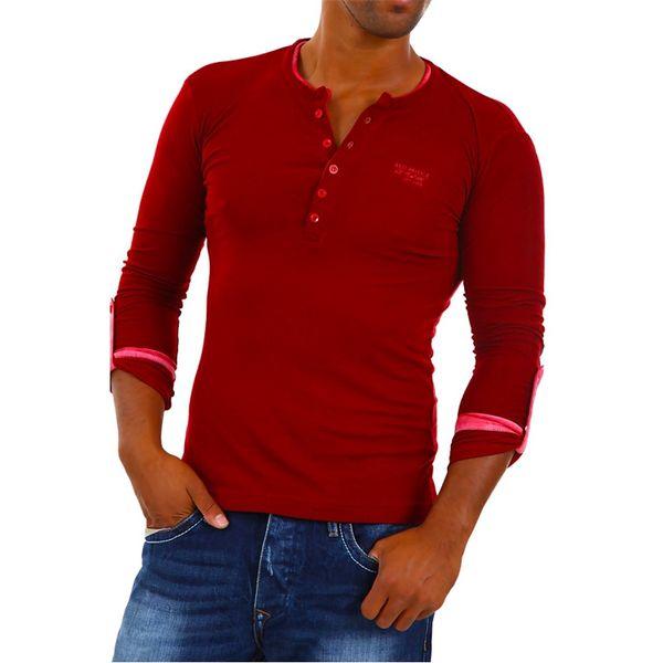 Pánské triko Redbridge bordo dlouhý rukáv