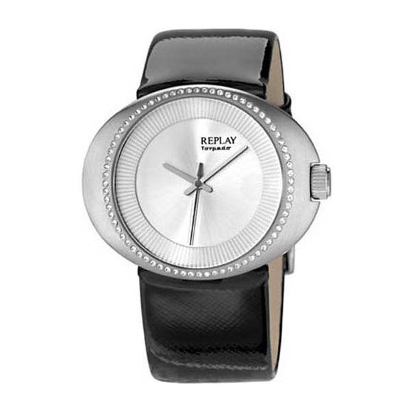Dámské hodinky Replay stříbrné s kamínky černý pásek