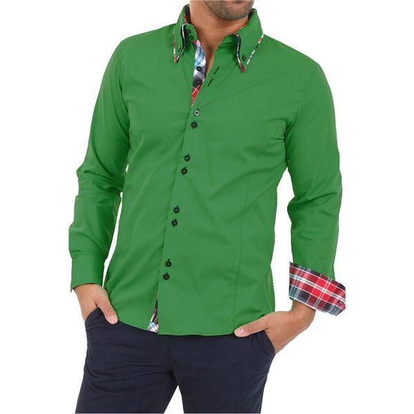 Pánská košile Carisma zelená kostičkovaný lem