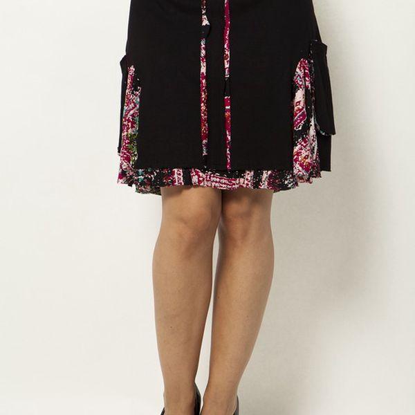 Černá sukně s růžovými detaily Mahal