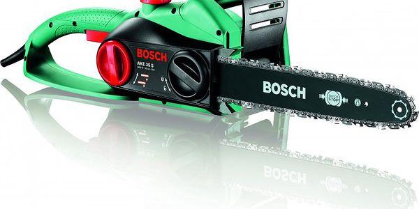Řetězová pila Bosch s rychlostí řetězu 9 m/s pro optimální řezný výkon.