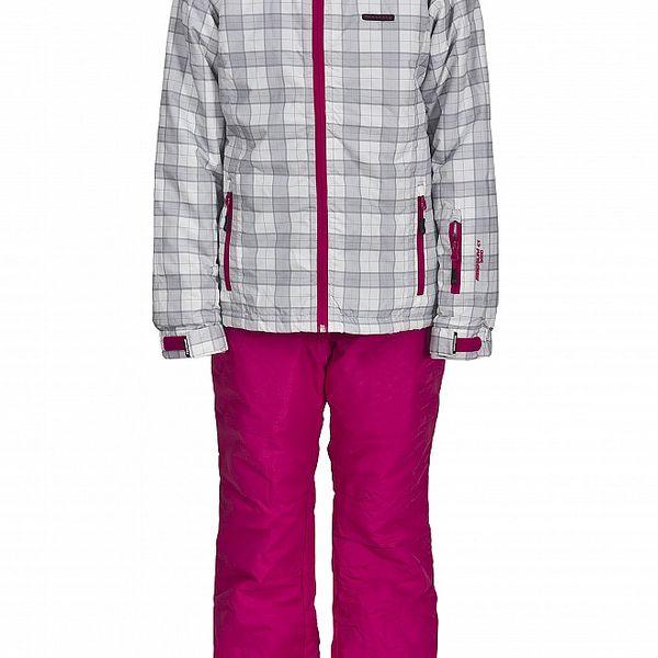 Dívčí lyžařská souprava Envy - růžové kalhoty a bílá kostkovaná bunda