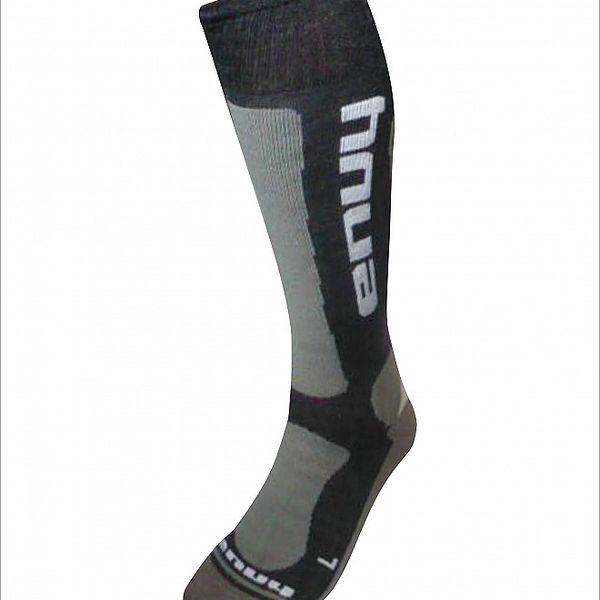 Pánské černo-šedé lyžařské ponožky s merino vlnou