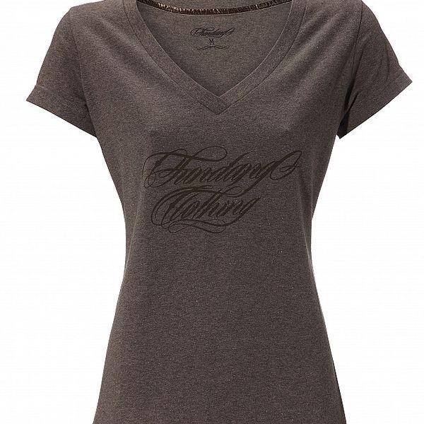 Dámské tmavě hnědé melírované tričko Fundango s potiskem
