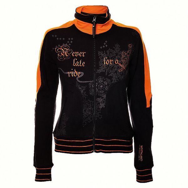 Dámská černá mikina Northland se stojáčkem a oranžovými detaily