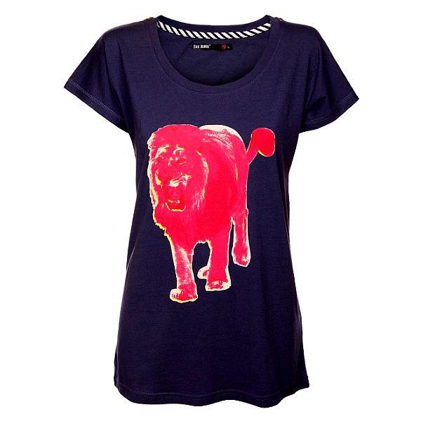 Dámské fialové triko Exe Jeans s růžovým lvem