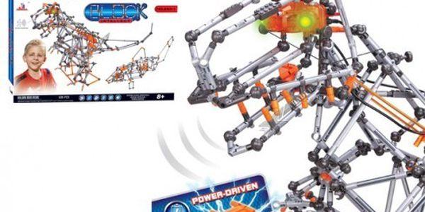 Stavebnice dinosaurus - výkonný motorek, světla, pohybové čidla, zvukové efekty!! Novinka!! Block intellect