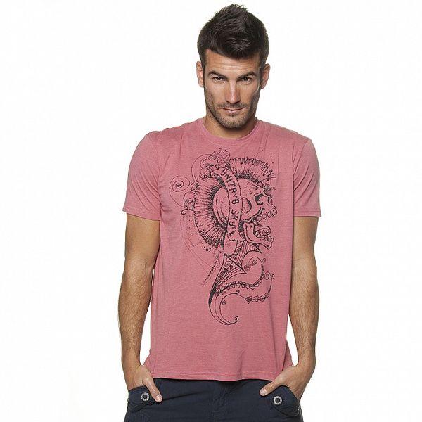 Pánske ružové tričko Unitryb s čiernou potlačou