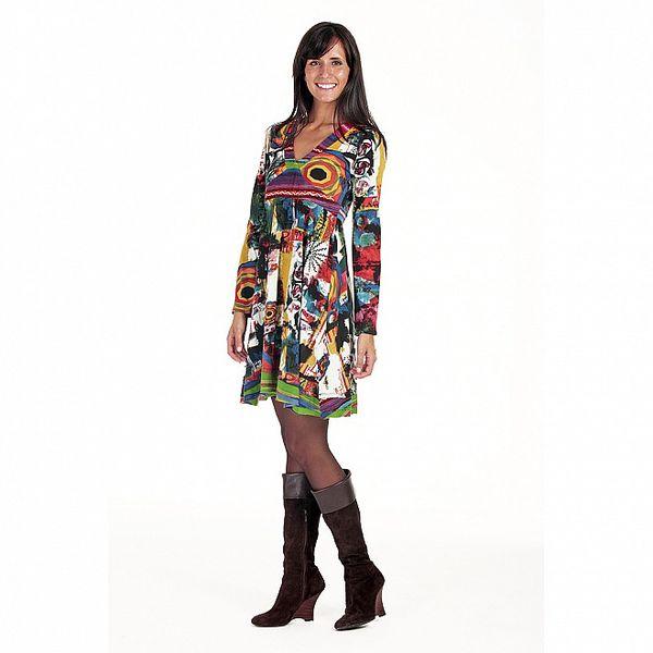 Farebné šaty s hlbokým dekoltom Peace&Love