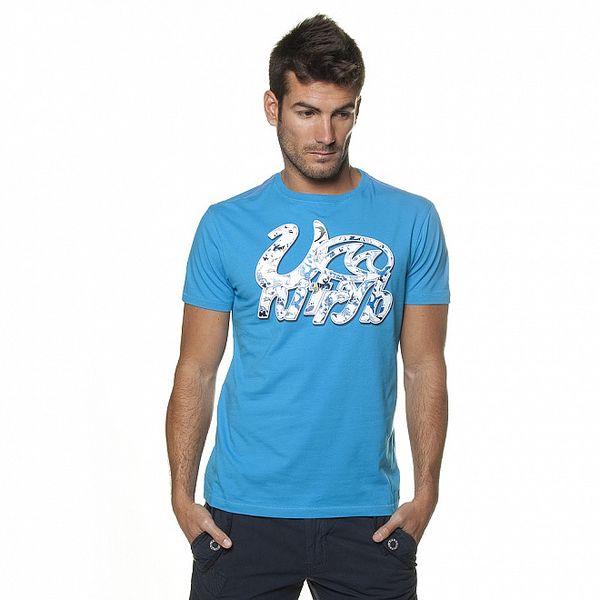 Pánske azúrovo modré tričko Unitryb s potlačou