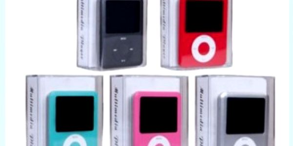 MP4 přehrávač s vnitřní pamětí 4GB v 5 barvách. Můžete s ním přehrávat hudbu, video i fotky, nahrávat nebo hrát hry.
