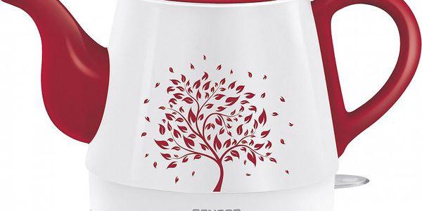 Rychlovarná porcelánová konvice Sencor SWK 8004 RD. Ručně vyrobena z tradičního čínského porcelánu.