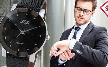 Luxusné pánske hodinky ESS LUXURY DIAMOND s unikátnym sklíčkom a krásnym koženým remienkom za 18,5 € aj s poštovným.