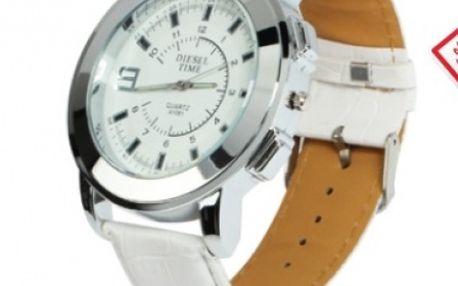 Štýlové a zároveň elegantné hodinky s japonským QUARTZ strojčekom a bielym koženým remienkom za 11,5 € aj s poštovným!