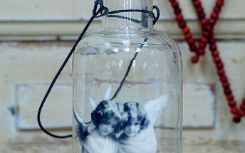 Skleněná lucerna s motivem andílků ve vintage stylu