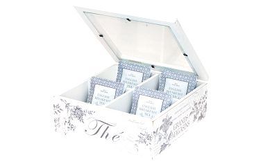 Krásná dřevěná krabička na čajové sáčky ve vzoru Edith warm grey