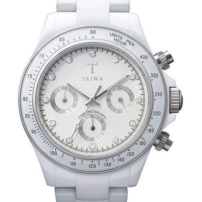 Stylové hodinky s bílým ciferníkem zdobeným krystaly Swarovski