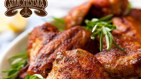 Pochutnajte si na 500 g pečených kuracích krídelok s pikantnou omáčkou len za 3,99 € v obľúbenej Staromestskej pivárni v centre mesta!