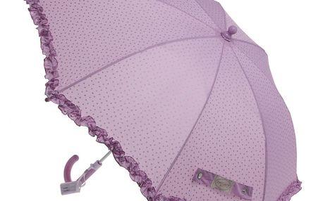 Dětský deštník od Lisbeth Dahl, růžová barva s motivem stříbrným hvězdiček