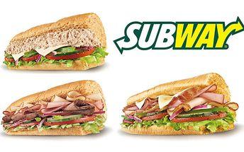 Len 2,80€ za 15 cm SUBWAY® sendvič - tuniakový, Subway® Melt™, alebo Subway Club® + druhý 15 cm SUBWAY® sendvič ZADARMO zľava 50%.