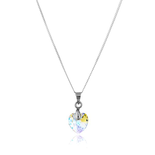Strieborný náhrdelník Swarovski Elements so srdiečkom