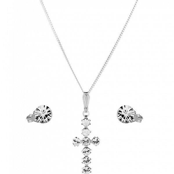 Strieborná sada Swarovski Elements krížik - náušníce a náhrdelník