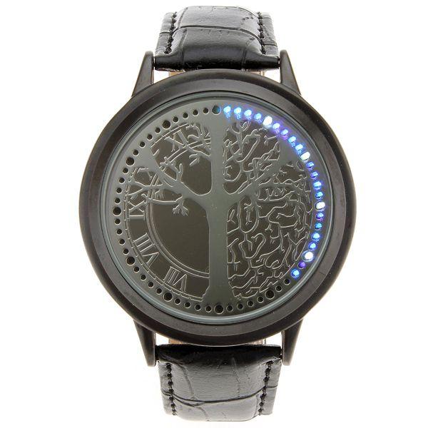 LED hodinky s modrými LED diodami - černé a poštovné ZDARMA! - 408