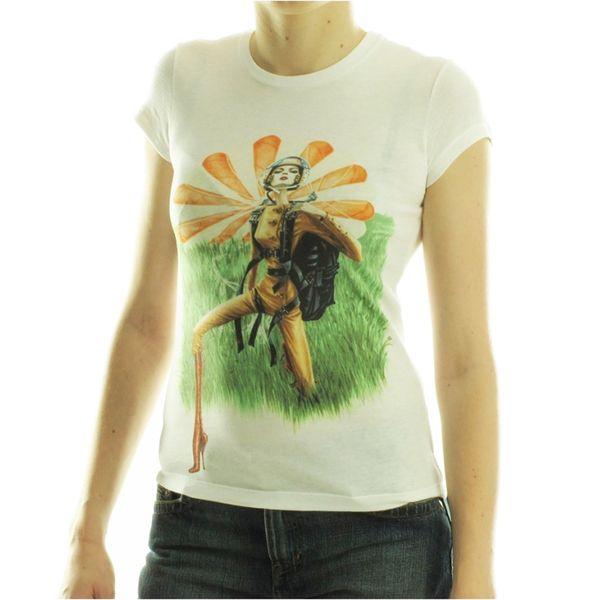 Dámské triko Custo Barcelona bílé s barevným obrázkem