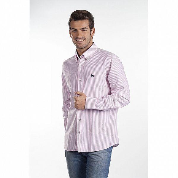 Pánska ružová prúžkovaná košeľa Toro