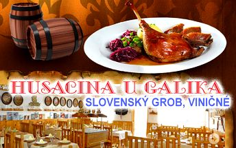 Kačacie hody v Slovenskom Grobe s chrumkavou zľavou 60%. Pozvite priateľov či rodinu a pochutnajte si na pečenej kačici v reštaurácii Husacina u Galika.
